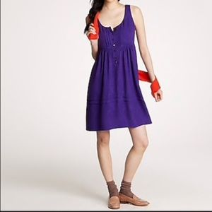 J CREW SILK PATSY GRAPE PURPLE TANK EMPIRE DRESS